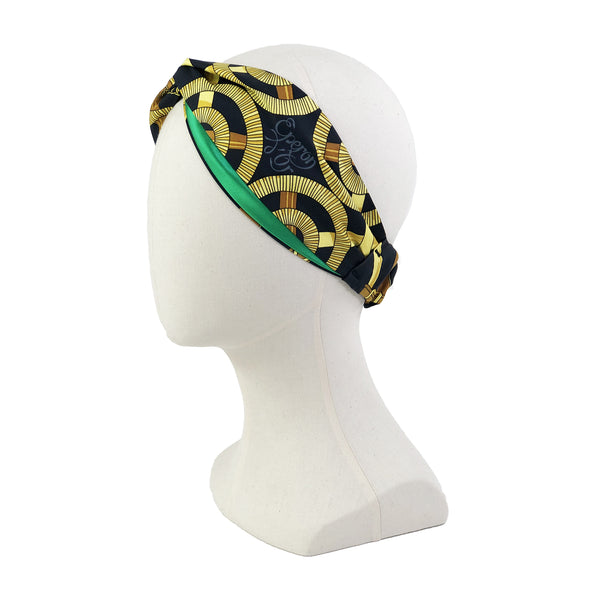 Hermès Vintage Scarf Turban Headband made from 'Eperon d'or' in Black & Gold