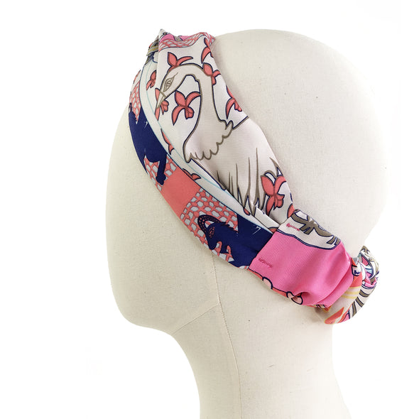 Hermès Vintage Scarf Turban Headband made from 'Etendards et Bannieres'
