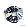 Hermès Vintage Scarf Scrunchie made from 'Ex Libris En Cravates' Blues