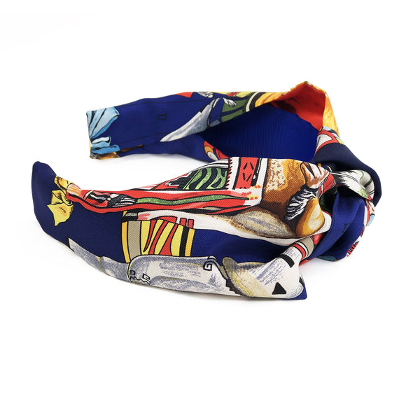 Hermès Vintage Scarf Knot Headband #3 made from  'Kachinas' in Navy & Orange