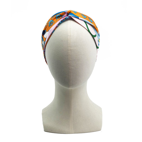 Hermès Scarf Turban Headband made from 'La Source de Pegase'