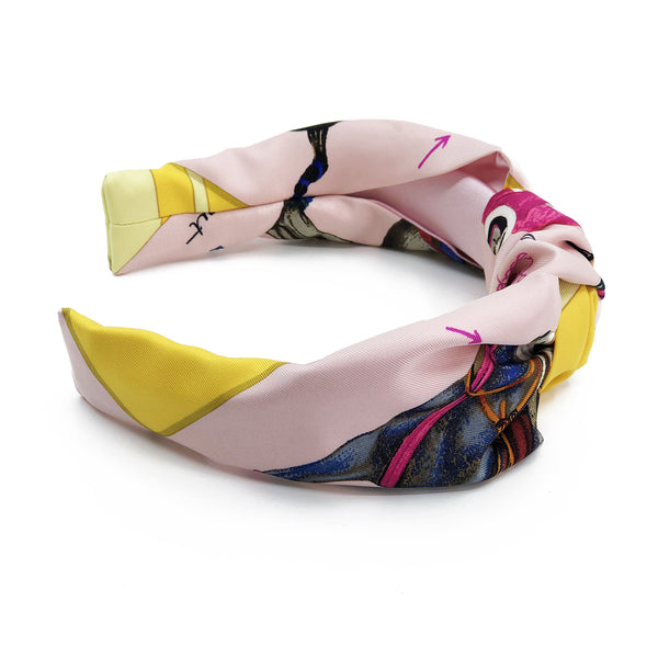 Hermès Vintage Scarf Knot Headband made from 'Le Monde du Polo'
