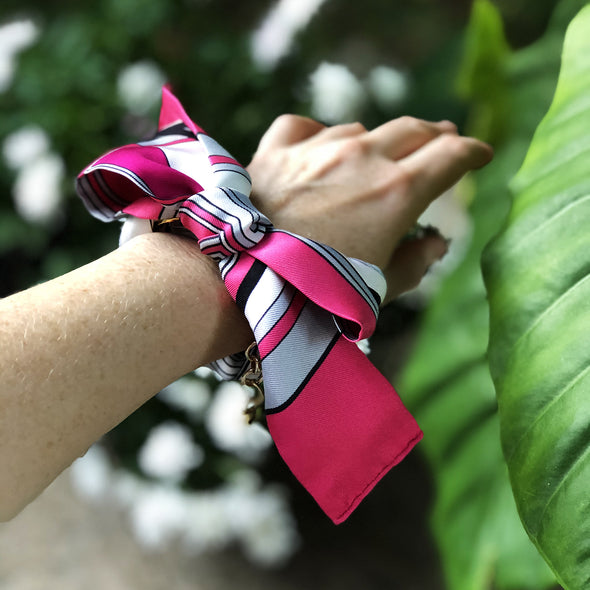 Hermès Vintage Scarf Bandeau Charm Bracelet made from 'Les Coupes' Hot Pink