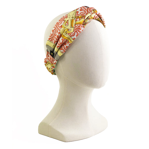 Hermès Vintage Scarf Turban Headband made from 'Mors et Gourmettes'