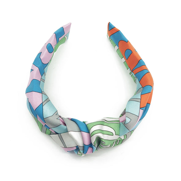 Hermès Vintage Scarf Knot Headband made from 'Mots de Soie'