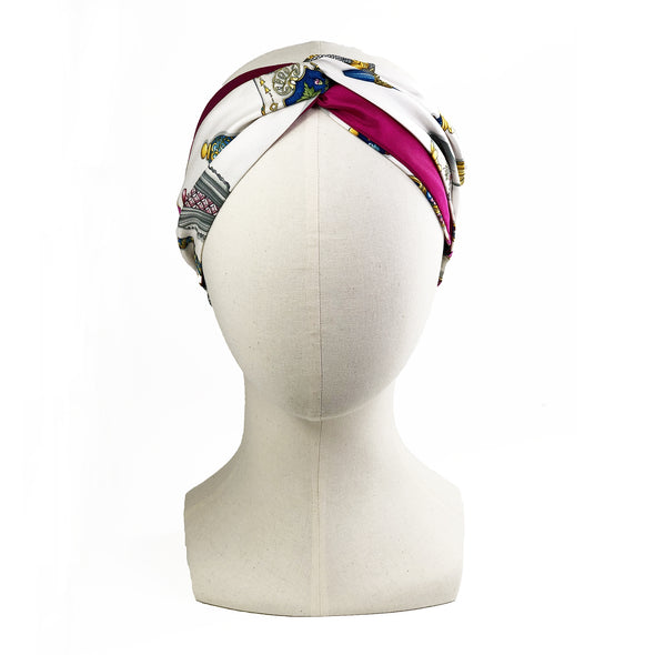 Hermès Vintage Scarf Turban Headband made from 'Qu'Import le Flacon'