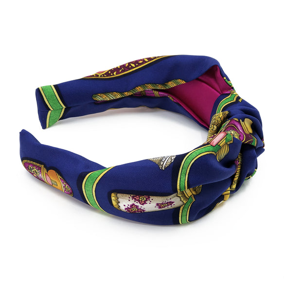Hermès Vintage Scarf Knot Headband made from 'Qu'Import le Flacon'