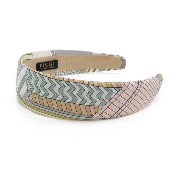 Hermès Scarf 4cm Alice Headband made from 'Sangles en Zigzag' Pastels