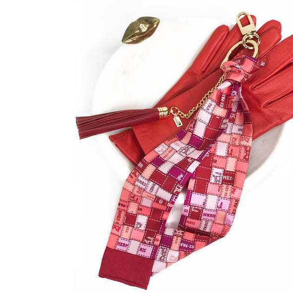 Hermès Vintage Scarf Bag Charm made from 'Bolduc au Carre'