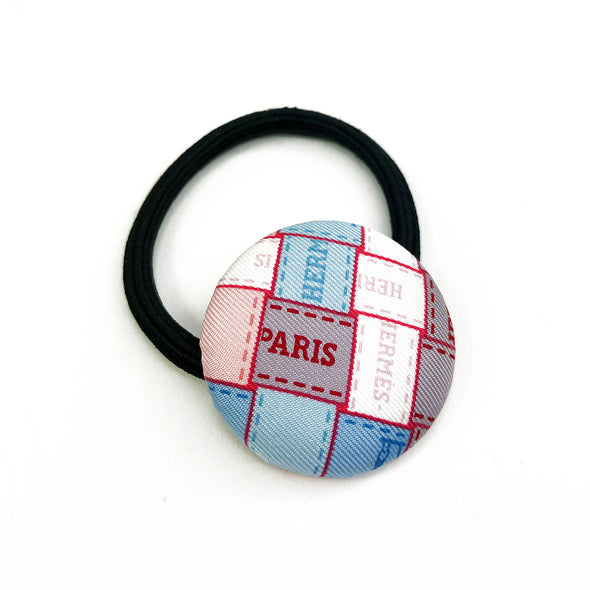 Hermès Vintage Scarf Hair Tie made from Blue 'Bolduc au Carre'