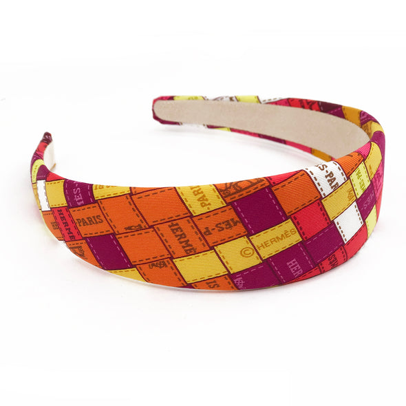Hermès Vintage Scarf Alice Headband made from 'Bolduc au Carre' Magenta on Orange