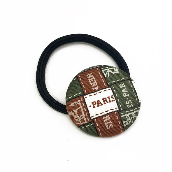 Hermès Vintage Scarf Hair Tie made from Olive 'Bolduc au Carre'