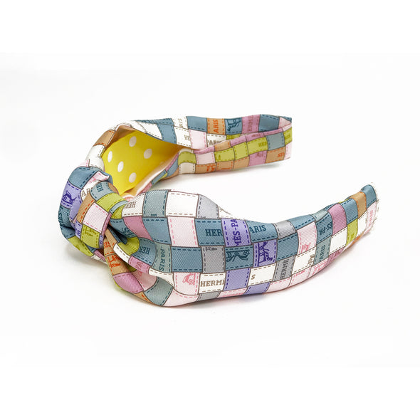 Hermès Vintage Scarf Knot Headband made from Pastel 'Bolduc au Carre'