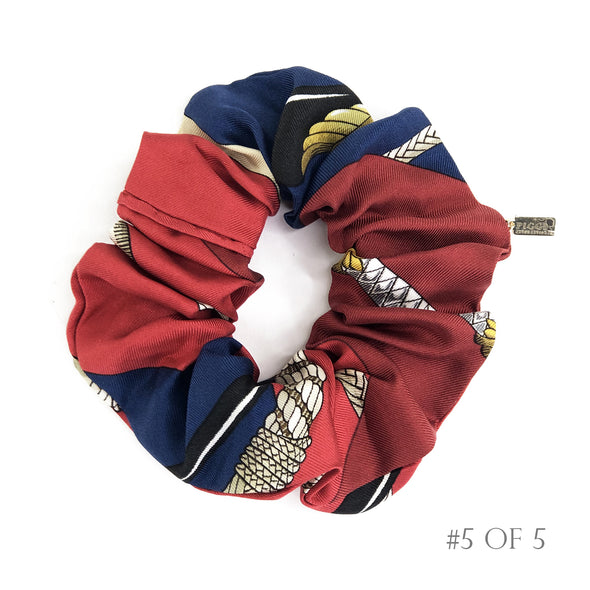 Hermès Vintage Scarf Scrunchie made from 'Clic Clac' in Navy & Red