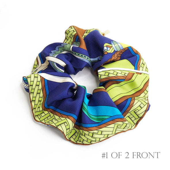 Hermès Vintage Scarf MAXI Scrunchie made from 'Concours d'Etriers' Blue
