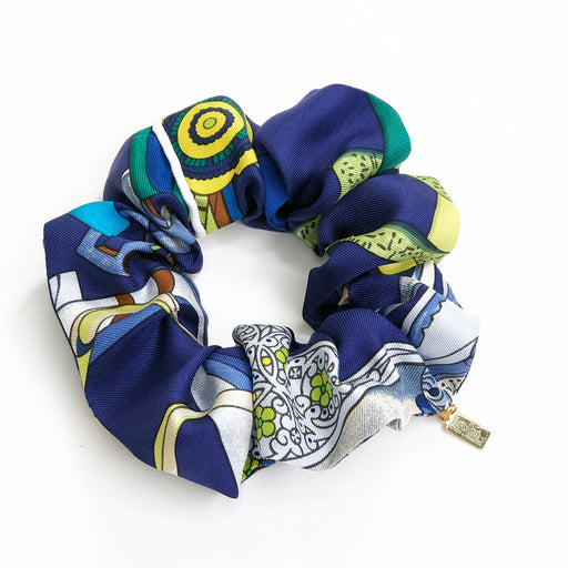 Hermès Vintage Scarf Scrunchie made from 'Concours d'Etriers' Blue