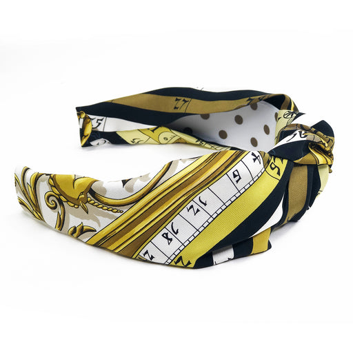 Hermès Vintage Scarf Knot Headband made from 'Dies et Hore' Astrologie