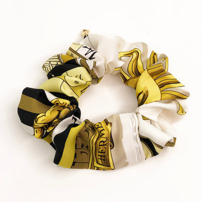 Hermès Vintage Scarf Scrunchie made from 'Dies et Hore' Astrologie