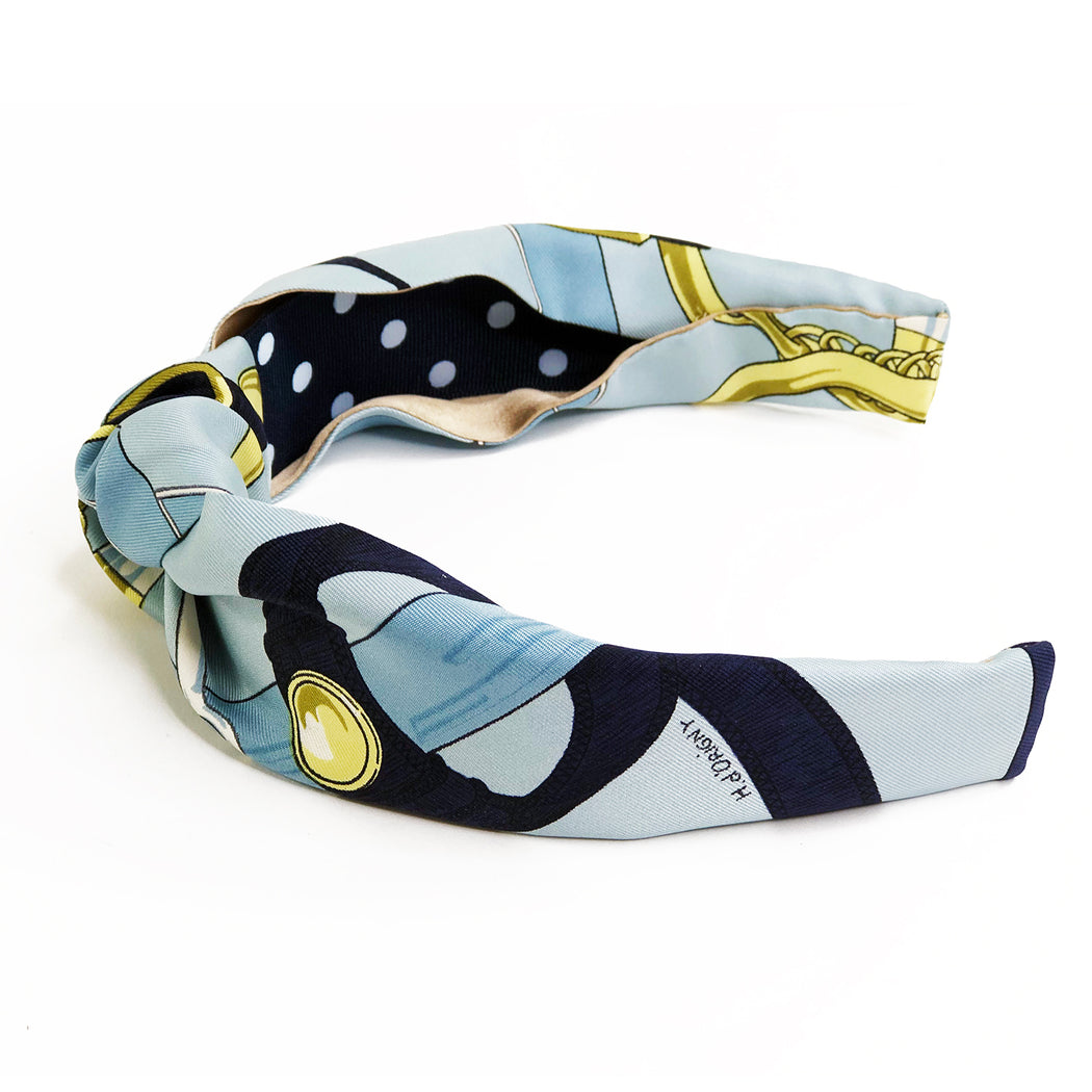 Hermès Vintage Scarf Knot Headband made from 'Eperon d'or' in Navy & Gold