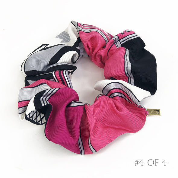 Hermès Vintage Scarf Scrunchie made from made from 'Les Coupes' Hot Pink