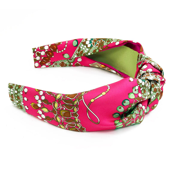 Hermès Vintage Scarf Knot Headband made from 'Parures des Maharajas '