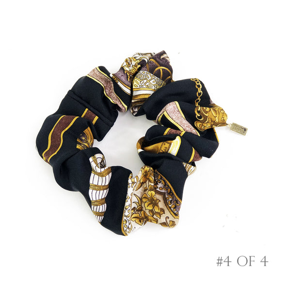Hermès Vintage Scarf Scrunchie made from 'Qu'Import le Flacon' Black & Gold