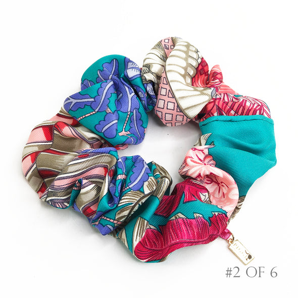 Hermès Vintage Scarf Scrunchie made from 'Silk Chapeau!' in Aqua & Pink