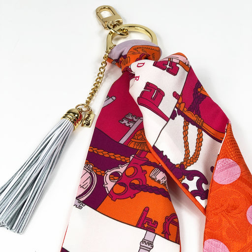 Hermès Vintage Scarf Bag Charm made from 'Tours' & 'Brides'