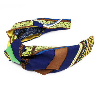 Hermès Vintage Scarf Knot Headband made from 'Concours d'Etriers' Blue