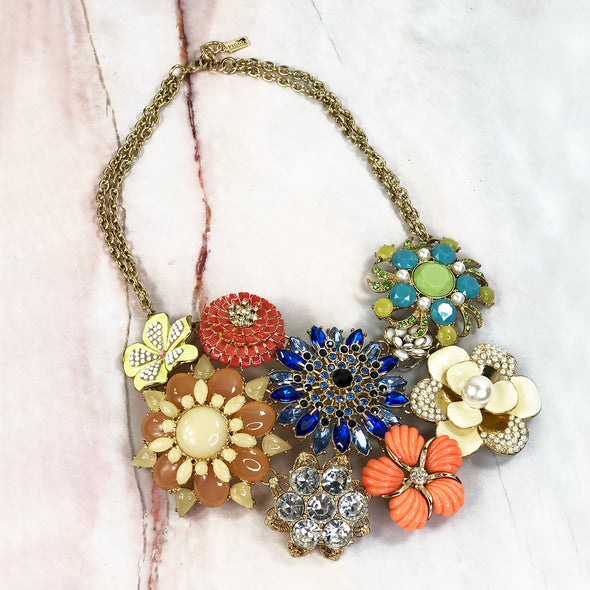 Jardin Crystal & Enamel Flower Necklace