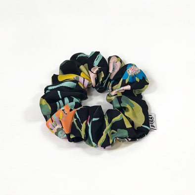 Liberty of London Silk Scrunchie made from 'Pavilion' in Black