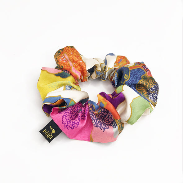 Liberty of London Silk Scrunchie made from 'Prospect Road' in Colourful