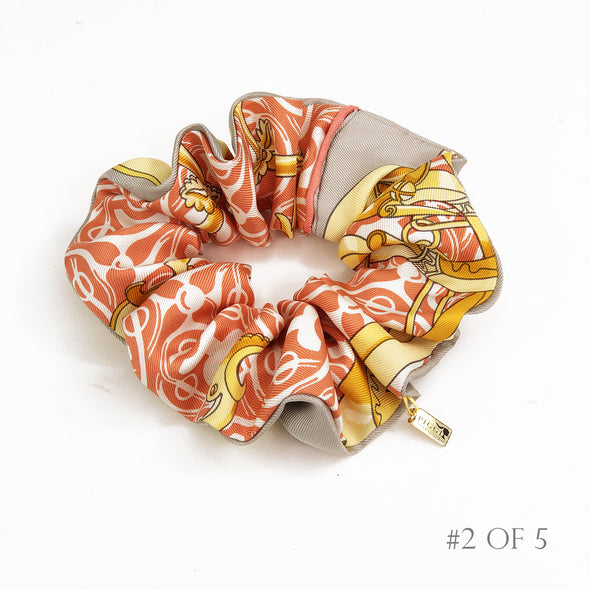 Hermès Vintage Scarf Scrunchie made from 'Mors et Gourmettes' in Orange
