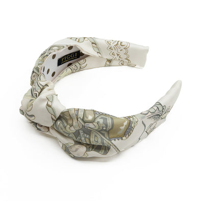 Hermès Vintage Scarf Knot Headband made from 'Paperoles' in Ivory