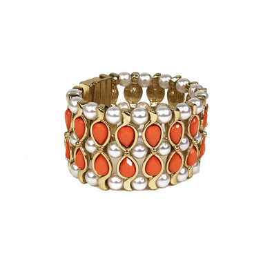 Piggi International Frankie Bracelet Pearl and Orange Bead Bracelet