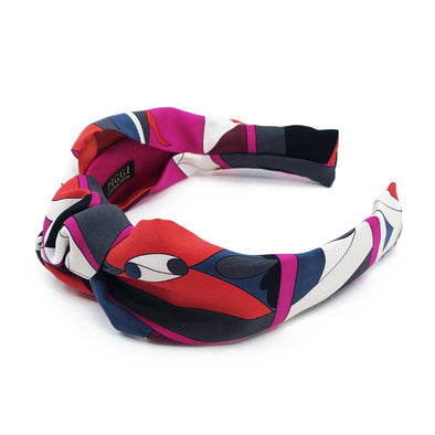 Pucci Vintage Scarf Knot Headband in Magenta & Red Swirls