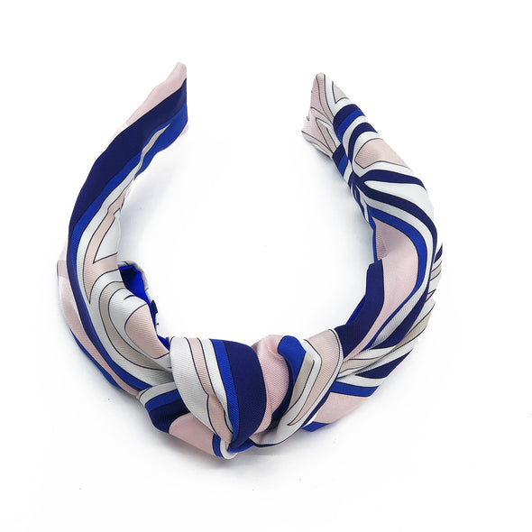 Knot Headband made from Emilio Pucci Scarf #1 Pink & Cobalt