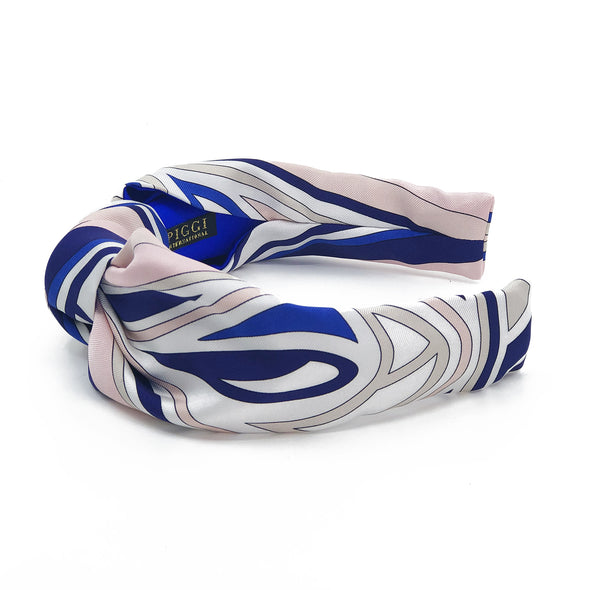 Knot Headband made from Emilio Pucci Scarf #2 Pink & Cobalt