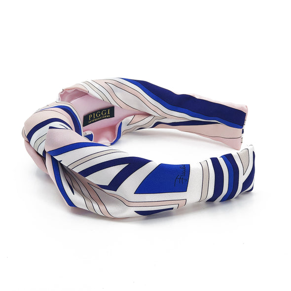 Knot Headband made from Emilio Pucci Scarf #3 Pink & Cobalt