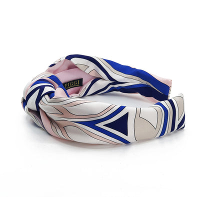 Knot Headband made from Emilio Pucci Scarf #4 Pink & Cobalt