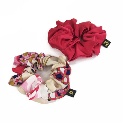 Piggi Scrunchie Duo 'Vintage Roses & Plaid'