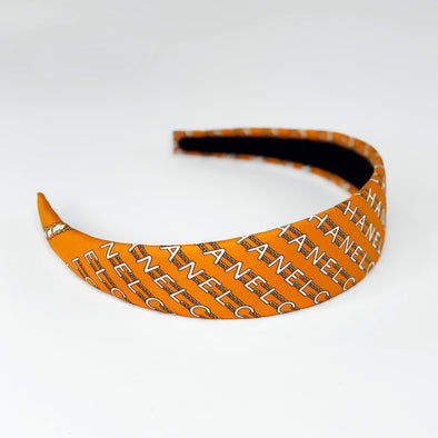 intage Chanel Scarf Wide Alice Headband in Orange Chain Link