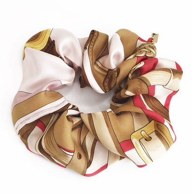 Hermès Vintage Scarf JUMBO Scrunchie made from 'Coaching' in Pink & Watermelon