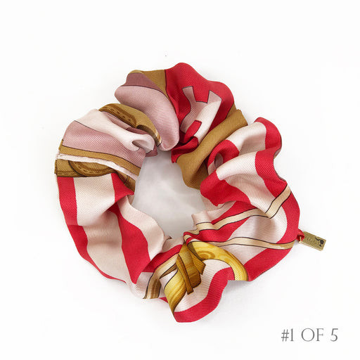 Hermès Vintage Scarf Scrunchie made from 'Coaching' in Pink & Watermelon