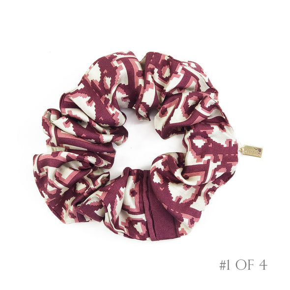 Scrunchie made from Dior Trotter Silk Scarf in Red & Taupe