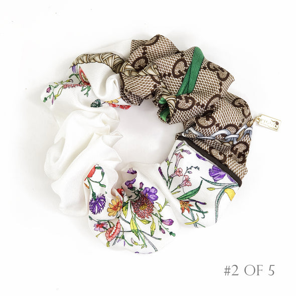 Scrunchie made from a Vintage Gucci Scarf in a Floral & GG Print