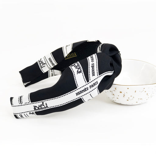 Hermès Vintage Knot Headband made from 'Bolduc' in Black and White