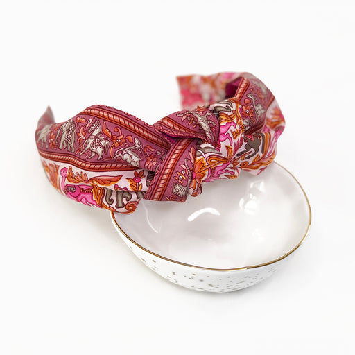 Hermès Vintage Scarf Knot Headband made from 'Chasse En Inde' in Pink
