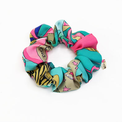 Hermès Vintage Scarf Scrunchie made from 'Circus' in Aqua & Pink