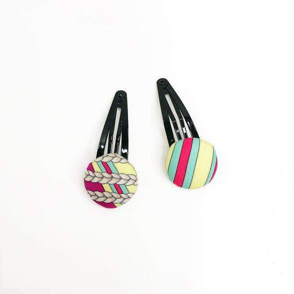 Hermès Vintage Scarf Hairclips made from 'Sangles en Zigzag'